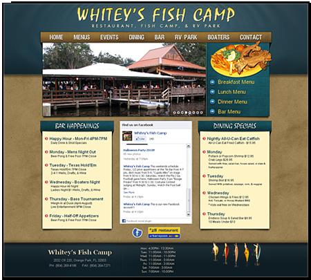 Blaine media portfolio website development print design for Whitey s fish camp menu